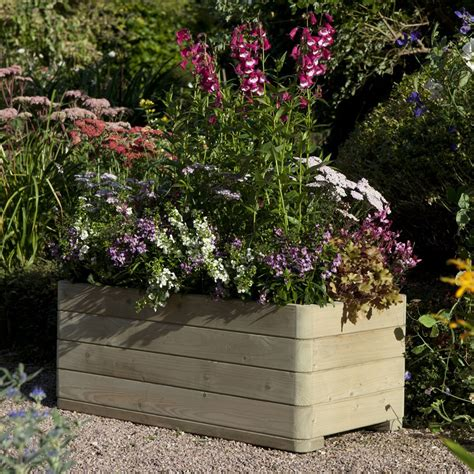 wooden rectangular planter pre assembled pressure treated