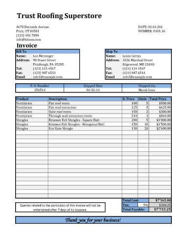roofing receipt template roof invoice 10 roof repair invoice sc 1 st paid