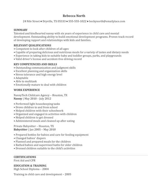 Sle Babysitting Resume by Cv Resume For Nanny 28 Images Sle Nanny Resume Tips For Writing Nanny Resume Creating A