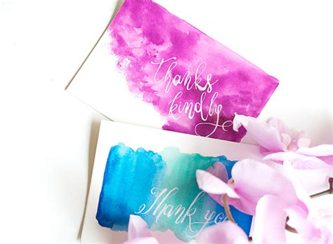 how to make watercolor cards diy watercolor thank you cards design sponge