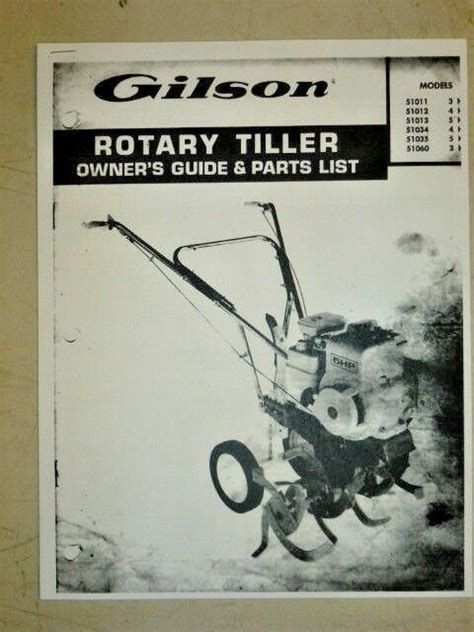 gilson owners guide parts manual rotary tillers