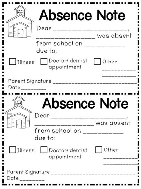 absence note image gallery absence note