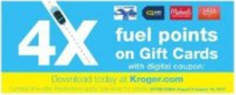 Gift Cards Available At Kroger - extra fuel points at kroger 4x on gift cards 8 2 8 15 miles to memories