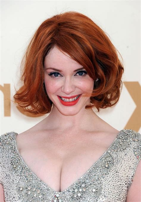 hairstyles for thick red hair christina hendricks red wavy bob hairstyle for thick hair