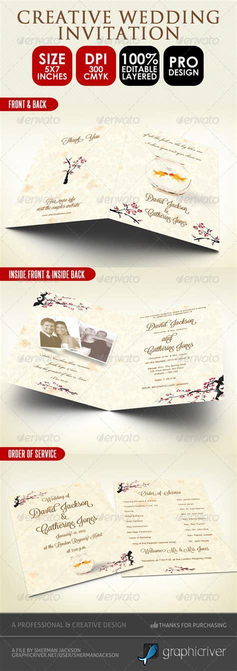 wedding invitation service creative wedding card order of service psd by shermanjackson graphicriver