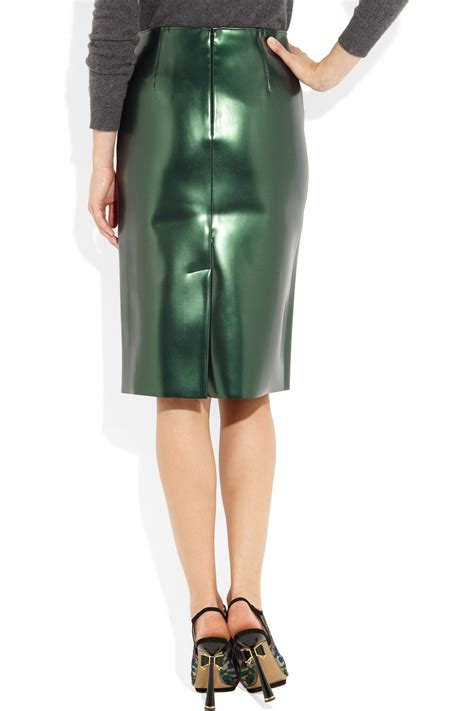 tibi bonded pvc pencil skirt in green lyst