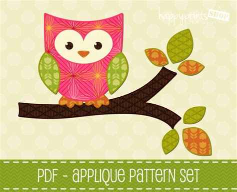 printable owl applique pattern owl applique pattern set of 2 owl branch applique