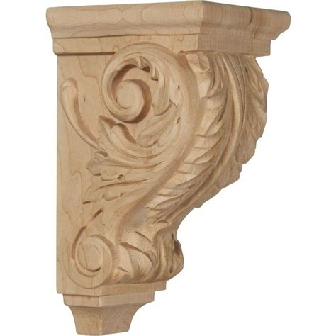 Small Wood Corbels Ekena Millwork 4 In X 3 1 2 In X 7 In Unfinished Wood