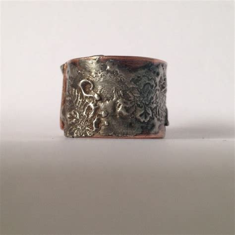 silver solder and copper flower ring folksy