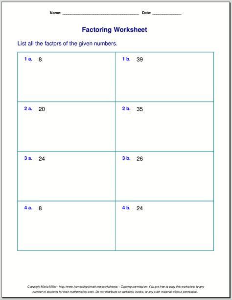 Factoring Worksheet Pdf