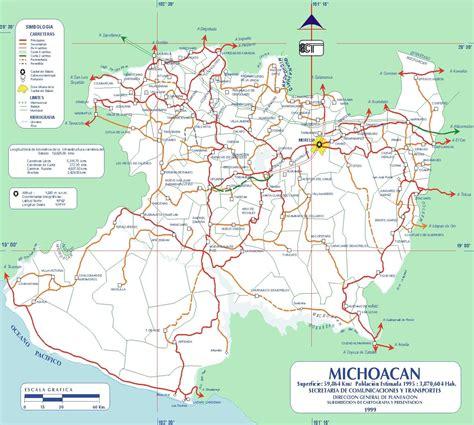 de michoacan mexico map map of michoacan state mexico