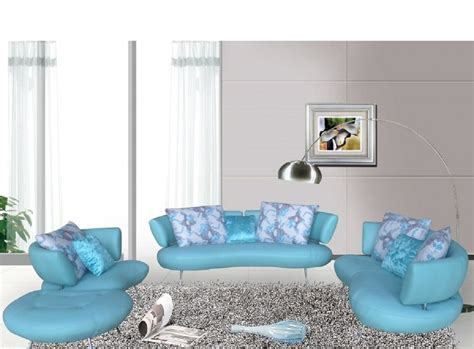 Light Blue Leather Sofa by Modern S5038 Light Blue Top Grain Leather Sofa Set