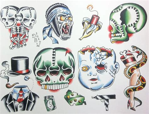 neo traditional tattoo flash miscellaneous ii neo traditional flash sheet