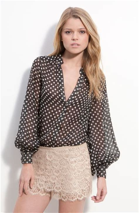 Blouse Polka haute hippie sheer polka dot silk blouse in black lyst