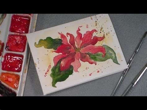 youtube watercolor christmas cards tutorials watercolor poinsettia tutorial card ideas watercolor