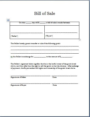 sle bill of sale template free word templates