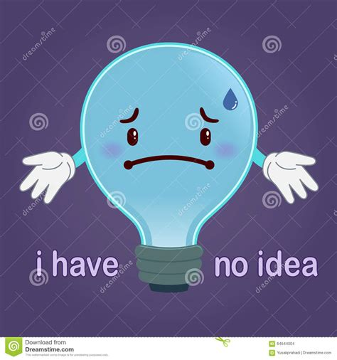 blue light bulbs for sad light with sad face have no idea concept stock vector