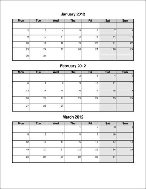quarter calendar template printable quarterly calendar template 2016 calendar
