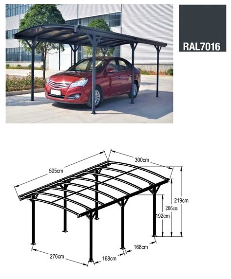 tettoie per auto in alluminio carport tettoia per automobili in alluminio cm 505x300cm