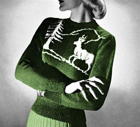 reindeer sweater knitting pattern vintage knitting pattern reindeer ski sweater nordic 1950s
