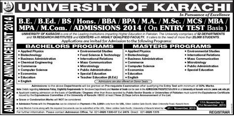 2 Year Mba Programs In Karachi by Of Karachi Admission Notice 2013 Medicalkidunya