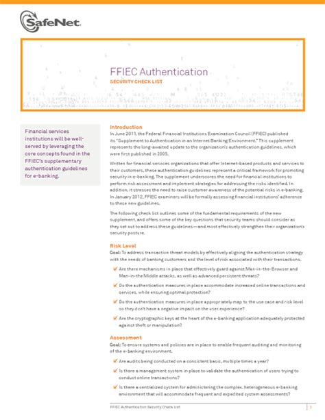 Ffiec Authentication Security Check List Bankinfosecurity Ffiec Banking Risk Assessment Template