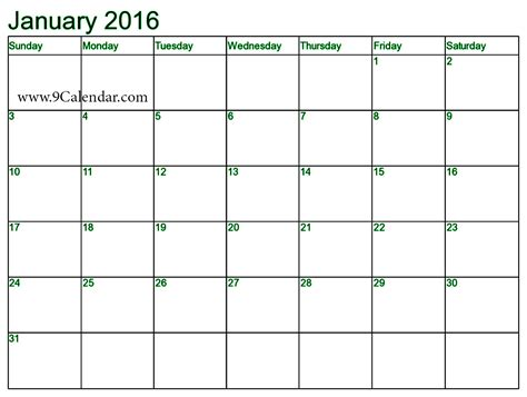 7 best images of january 2016 calendar printable template