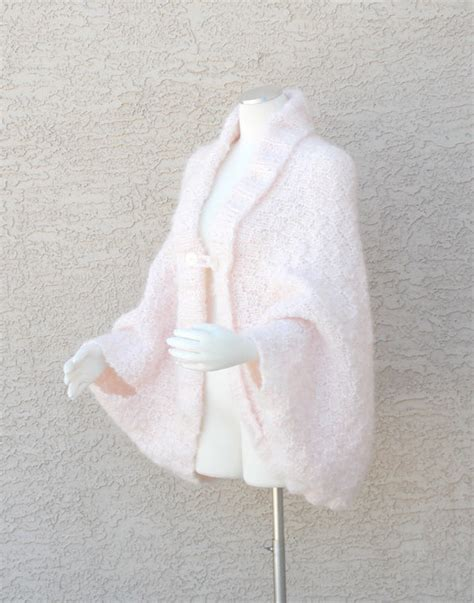 Handmade Cape - handmade knit cape jacket sweater cacoon cape in