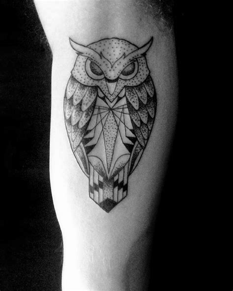 80 geometric owl tattoo designs for men shape ink ideas