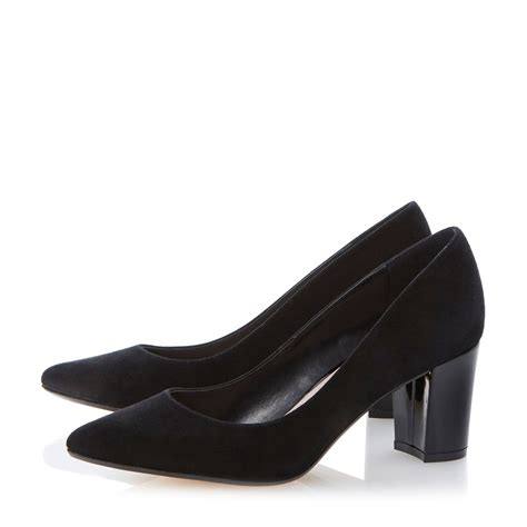 pointed sneakers dune annika pointed toe block heel court shoes in black