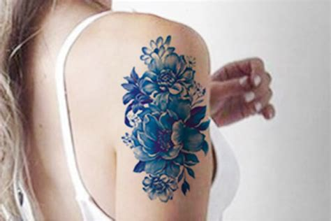 porcelain pattern tattoo blue watercolor vintage temporary tattoo arm sleeve