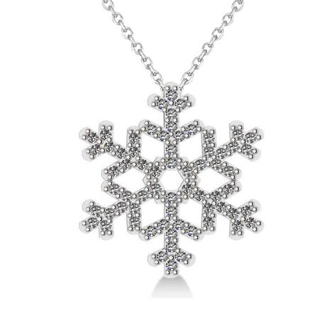 snowflake pendant necklace 14k white gold 0 66ct