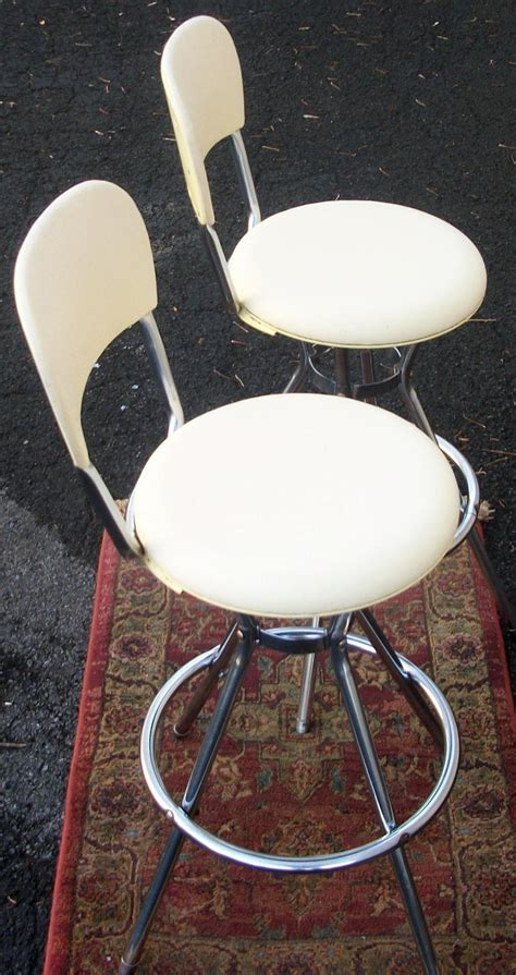 Cosco Bar Stool by Pair White Cosco Stools Herman Miller Style Brass