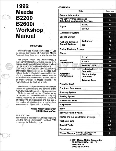 service manual online car repair manuals free 1992 mazda b series plus electronic valve timing