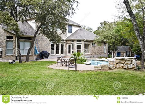 backyard view backyard view of home and pool stock image image 21987769