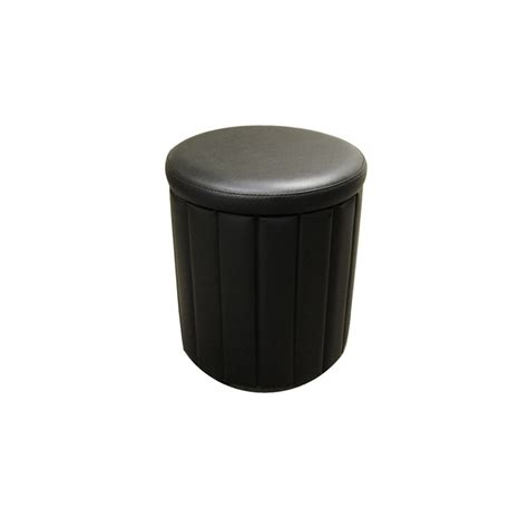 Faux Leather Storage Stool by Time Living Black Faux Leather Storage Stool