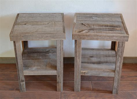 reclaimed barnwood wood end table or stand pair