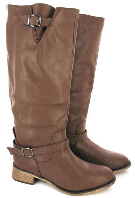 size 11 wide calf boots flat sole winter biker style wide calf leg