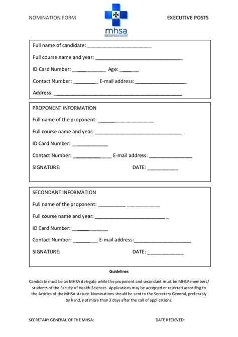 Mhsa Nomination Form Eb Elections Nomination Form Template