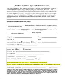 Authorization Letter Credit Card Payment one time payment credit card authorization form1