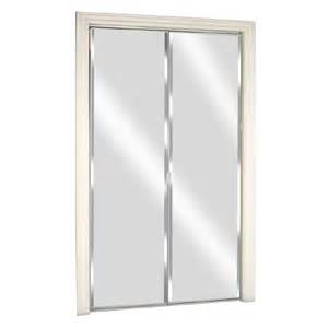 Bifold Mirrored Closet Door Shop Reliabilt Glass Mirror Flush Mirror Bi Fold Closet Interior Door Common 30 In X 80 In