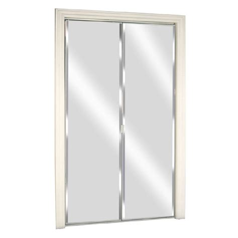 Bifold Closet Doors With Mirrors Shop Reliabilt Glass Mirror Flush Mirror Bi Fold Closet Interior Door Common 36 In X 80 In
