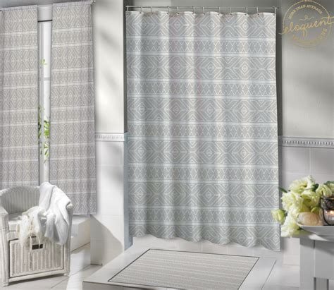grey shower curtains grey fabric shower curtain tribal look grey shower