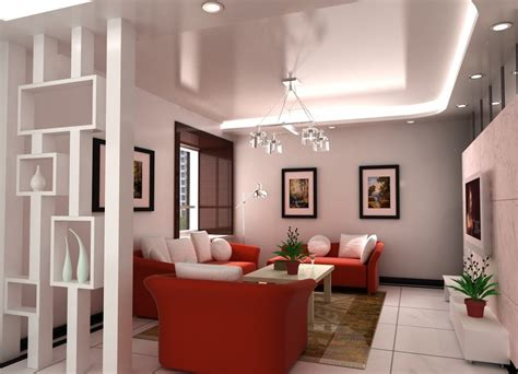 apartment interior with partition for living and dining