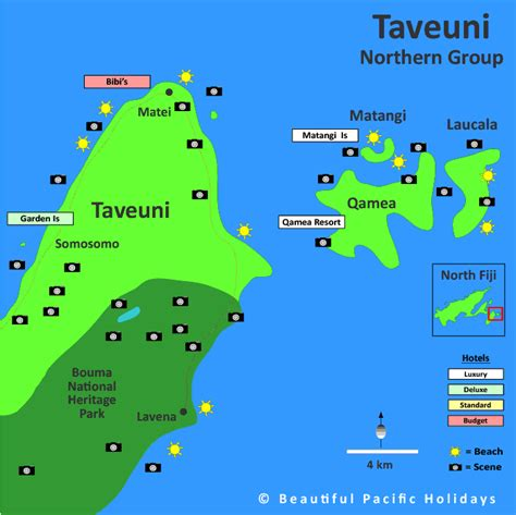 Map of Taveuni in Fiji Islands showing Hotel Locations