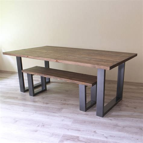 u shaped legs reclaimed wood dining table by cosywood