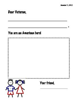 writing template for cards kindergarten veteran s day card writing template by el s kindergarten tpt