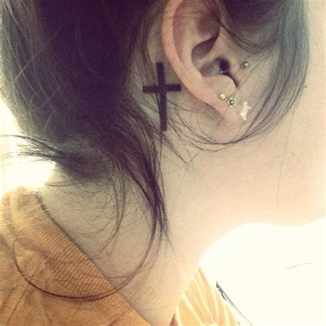 small cross tattoo behind ear lovely cross the ear creativefan