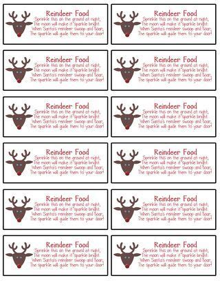 printable magic reindeer food gift tags labels made using mds for reindeer food christmas season