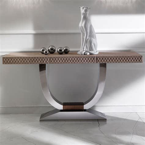Modern Furniture Table Modern Nubuck Leather Console Table Juliettes Interiors